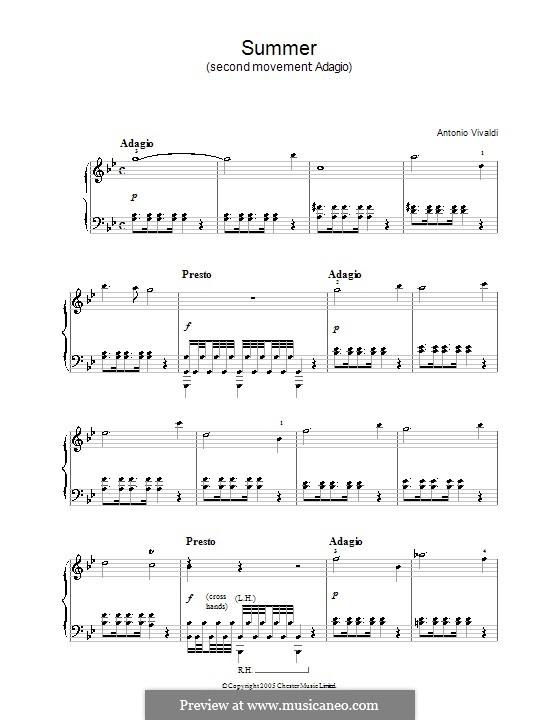 Violin Concerto No.1 in E Major 'La primavera', RV 269: Movement II. Arrangement for piano by Antonio Vivaldi