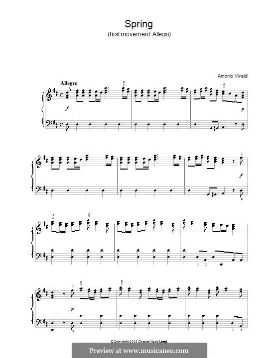 Violin Concerto No.1 in E Major 'La primavera', RV 269: Movement I. Version for piano by Antonio Vivaldi