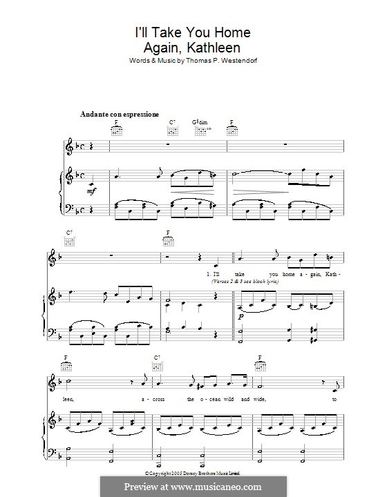 I'll Take You Home Again, Kathleen: For voice and piano (or guitar) by Thomas Payne Westendorf