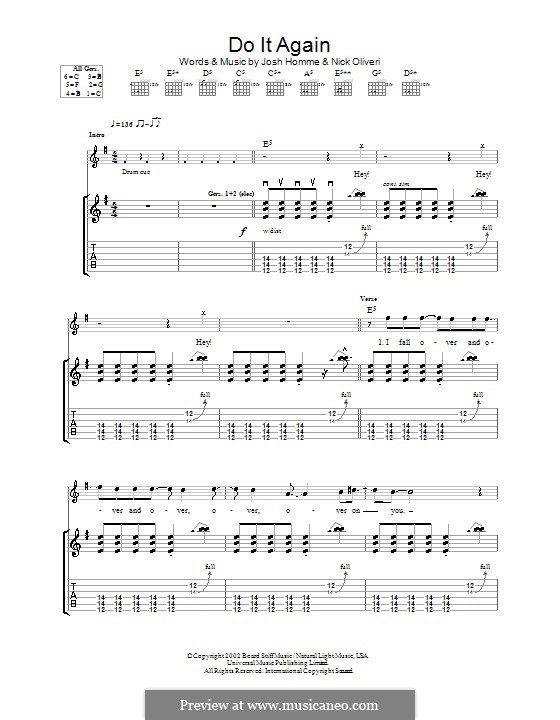 Do It Again (Queens of the Stone Age): For guitar with tab by Joshua Homme, Nick Oliveri