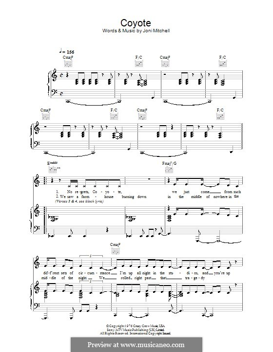 Coyote: For voice and piano (or guitar) by Joni Mitchell