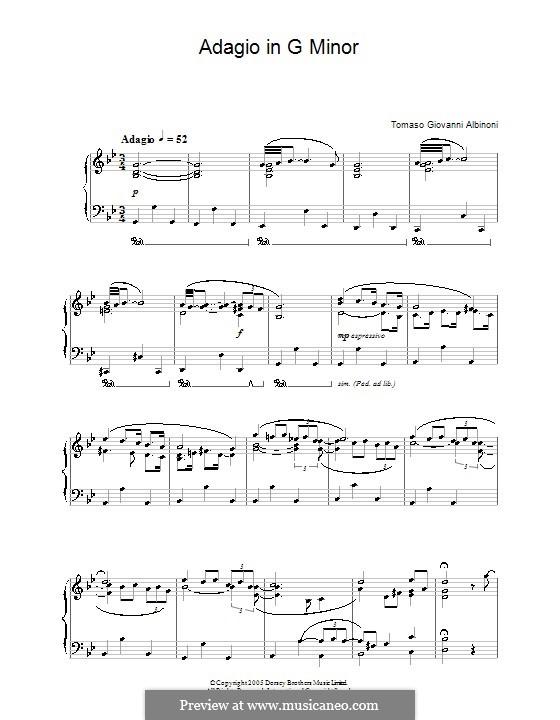 Adagio in G Minor: Version for piano by Tomaso Albinoni