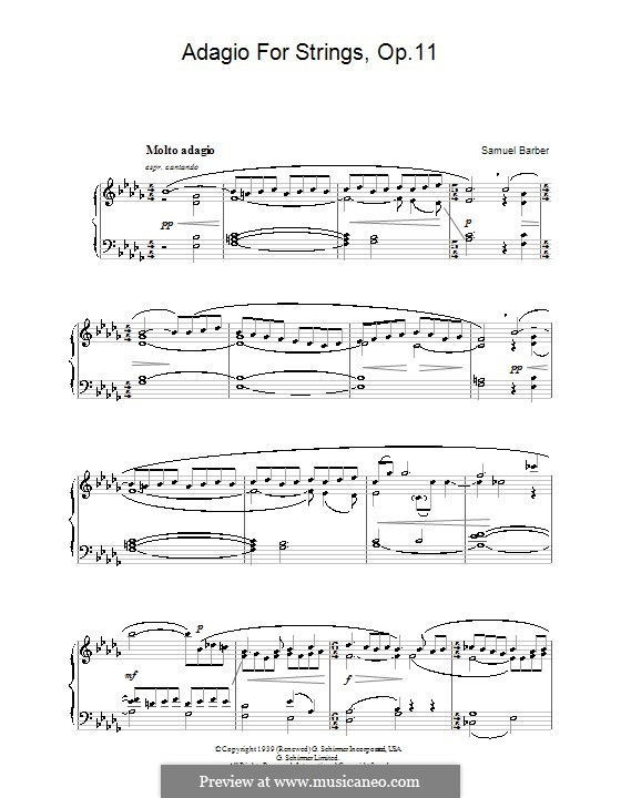 Adagio for Strings, Op.11: Version for piano (high quality sheet music) by Samuel Barber