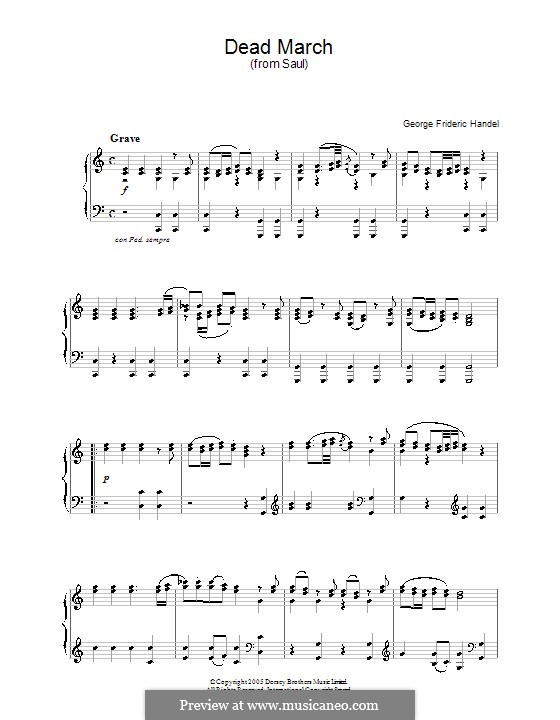 Saul, HWV 53: Funeral March. Version for piano by Georg Friedrich Händel