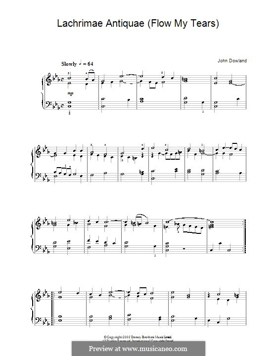 Flow My Tears (Lachrimae Antiquae): For piano by John Dowland