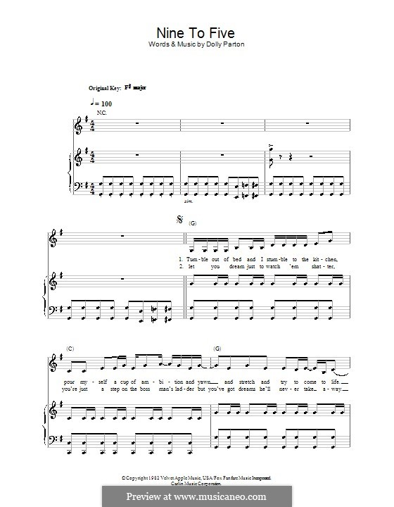 Nine to Five: For voice and piano (or guitar) by Dolly Parton