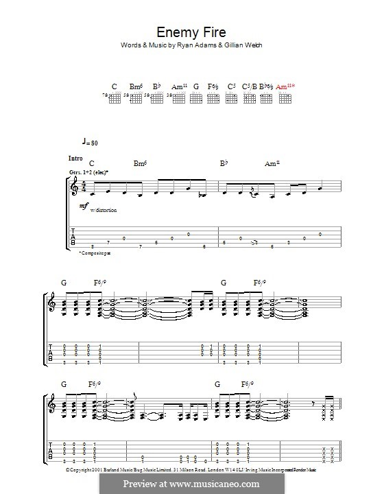 Enemy Fire: For guitar with tab by Gillian Welch