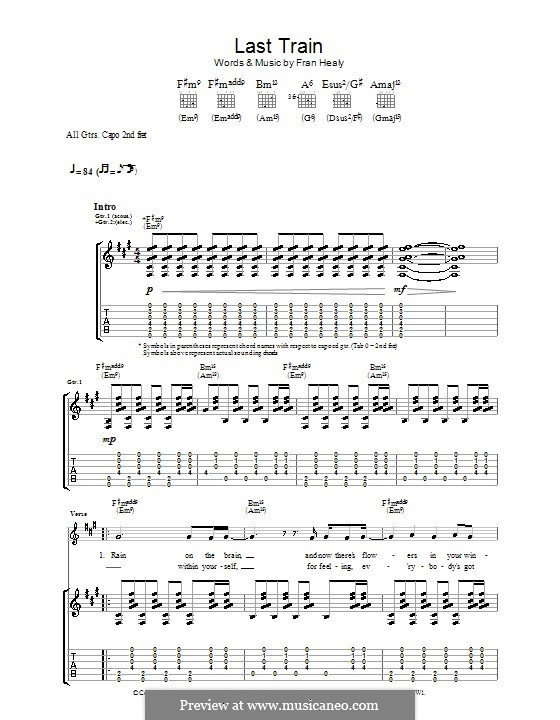 Last Train (Travis): For guitar with tab by Fran Healy