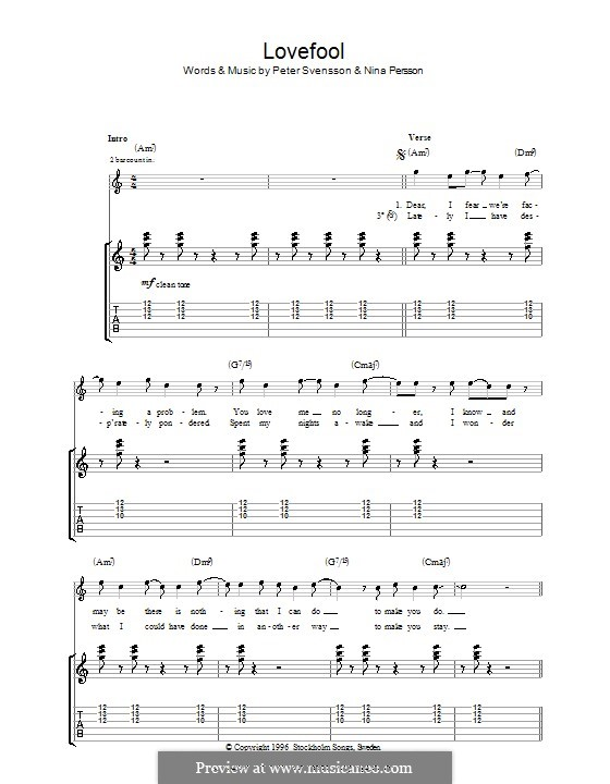 Lovefool (The Cardigans): For guitar with tab by Nina Persson, Peter Svensson