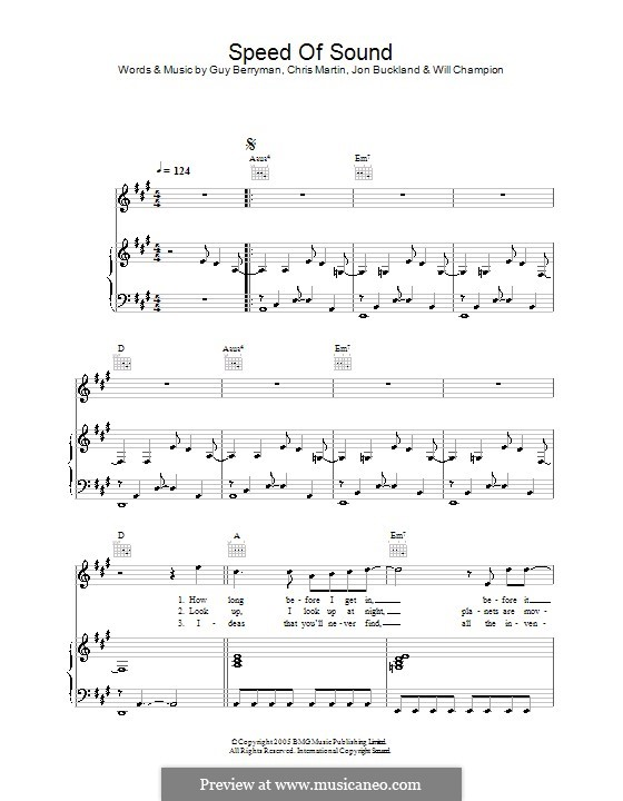 Speed of Sound (Coldplay): For voice and piano (or guitar) by Chris Martin, Guy Berryman, Jonny Buckland, Will Champion