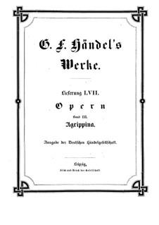 Agrippina, HWV 6: Full score by Georg Friedrich Händel