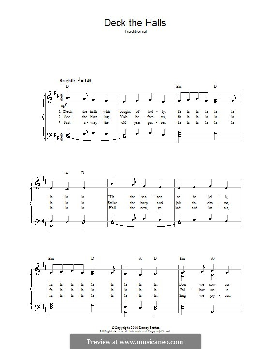 Deck the Hall (Printable): For voice and piano by folklore