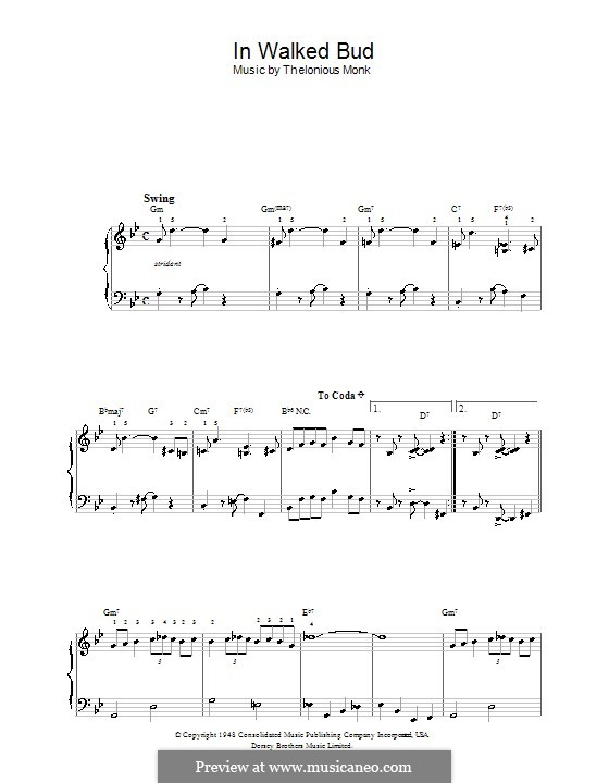 In Walked Bud: For easy piano by Thelonious Monk
