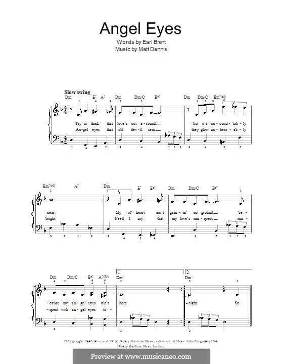 Angel Eyes (Frank Sinatra): For easy piano by Matt Dennis