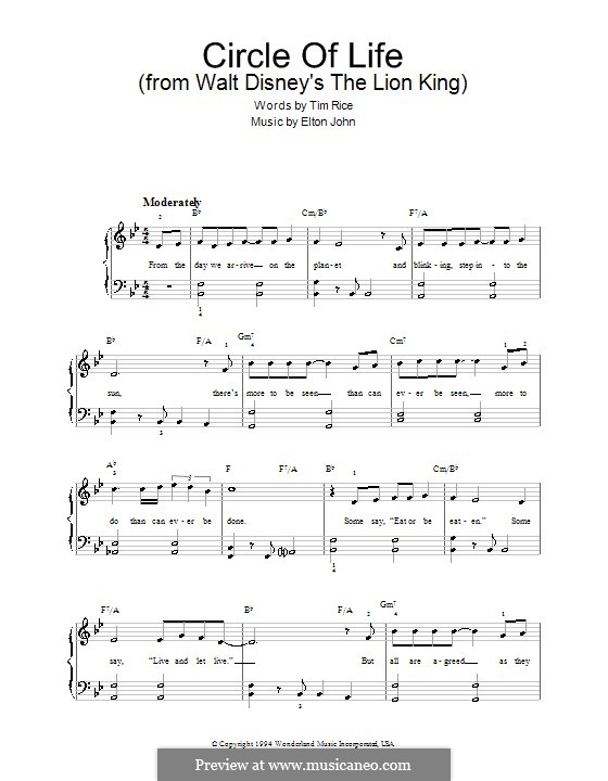 Circle of Life (from The Lion King), instrumental version: For easy piano by Elton John