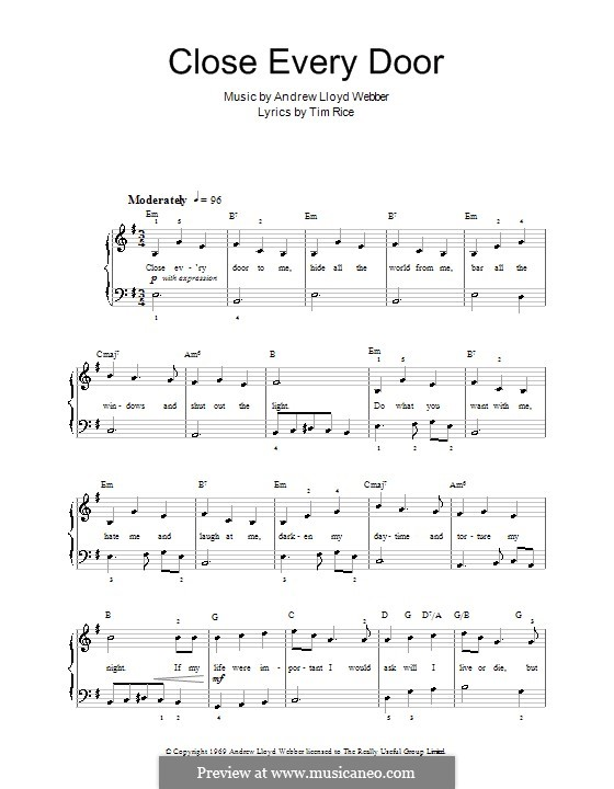Close Every Door: For easy piano (with lyrics) by Andrew Lloyd Webber