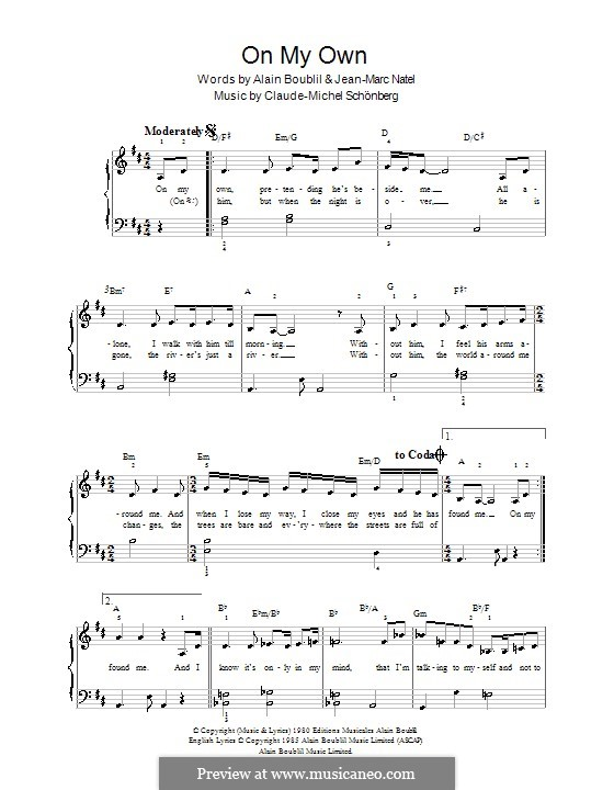 On My Own: For easy piano by Claude-Michel Schönberg