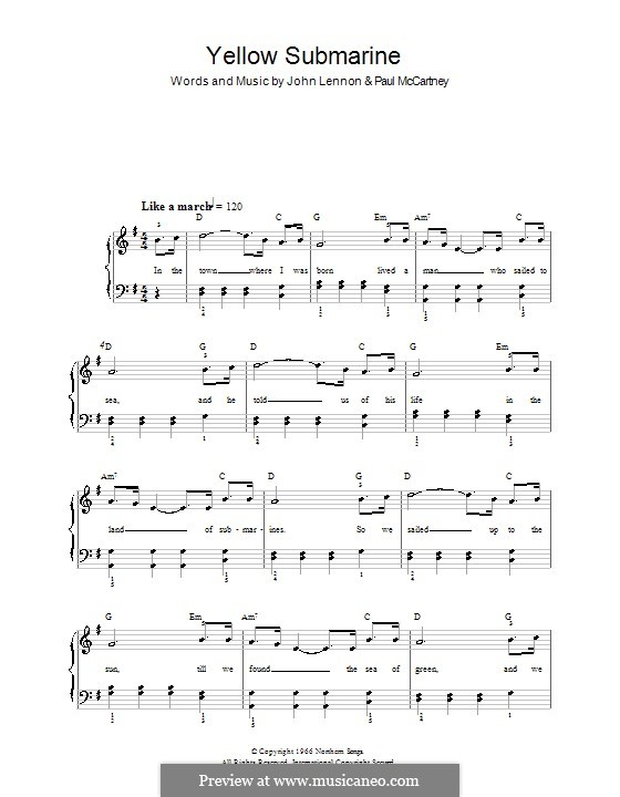 Yellow Submarine (The Beatles): For easy piano by John Lennon, Paul McCartney