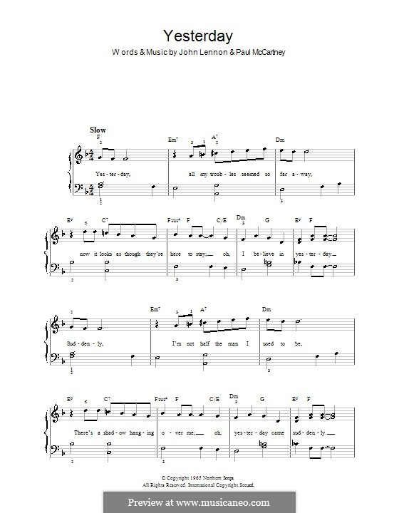 Yesterday, for Piano (The Beatles): Very easy version by John Lennon, Paul McCartney