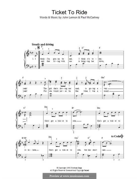 Ticket to Ride (The Beatles): For easy piano by John Lennon, Paul McCartney