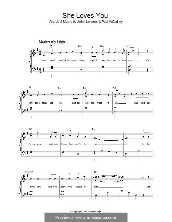 She Loves You (The Beatles): For easy piano by John Lennon, Paul McCartney