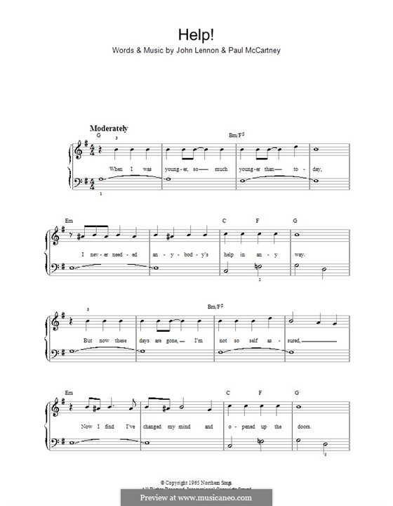Help! (The Beatles): For easy piano by John Lennon, Paul McCartney