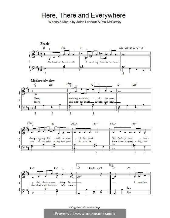 Here, There and Everywhere (The Beatles): For easy piano (with chords) by John Lennon, Paul McCartney