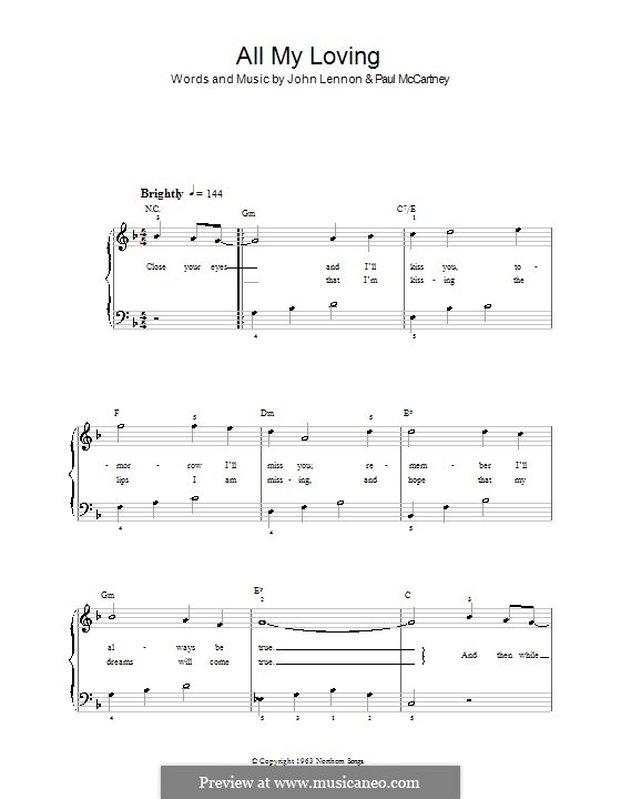 All My Loving (for guitar or piano): For easy piano by John Lennon, Paul McCartney