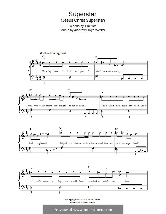 Superstar: For easy piano by Andrew Lloyd Webber