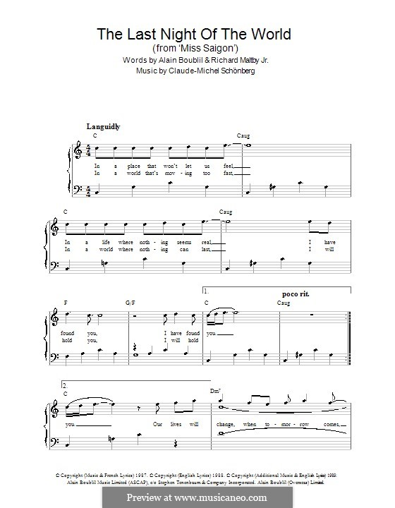 The Last Night of the World: For easy piano by Claude-Michel Schönberg