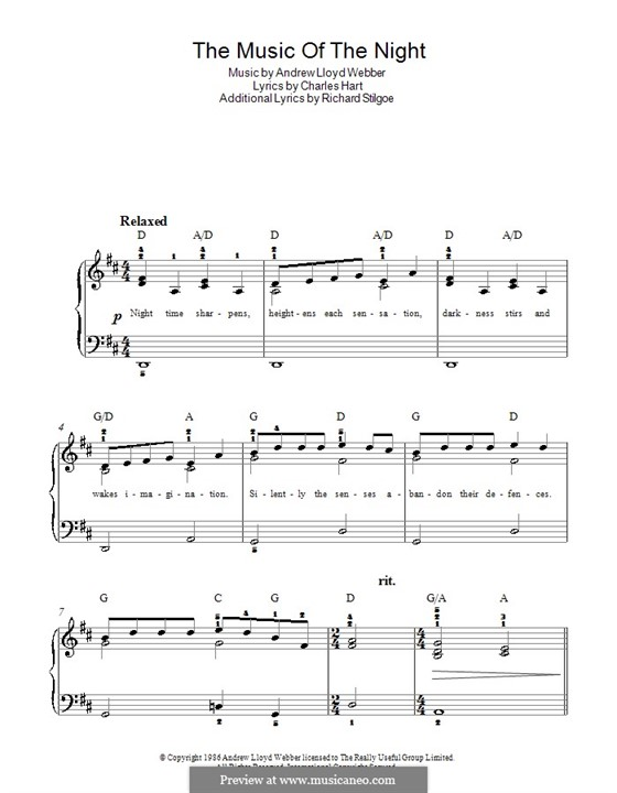 The Music of the Night, instrumental version: For easy piano by Andrew Lloyd Webber