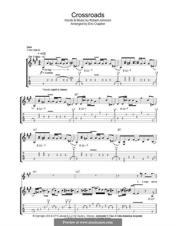 Cross Road Blues (Crossroads): For guitar with tablature by Robert Leroy Johnson