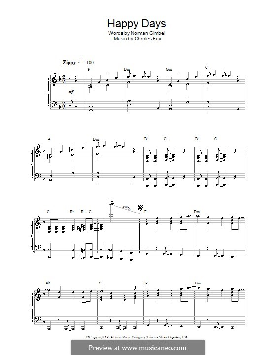 Happy Days: For piano by Charles Fox