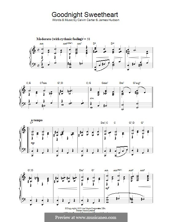 Goodnight, Sweetheart, Goodnight (Goodnight, It's Time To Go): For piano by Calvin Carter, James Hudson
