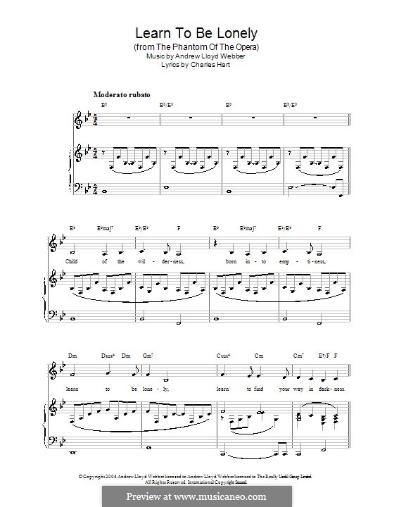 Learn to be Lonely: For voice and piano (or guitar) by Andrew Lloyd Webber