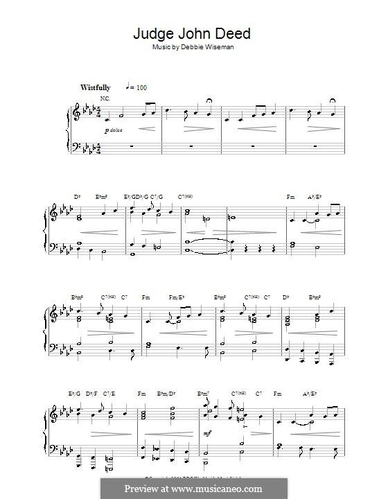Judge John Deed: For piano by Debbie Wiseman