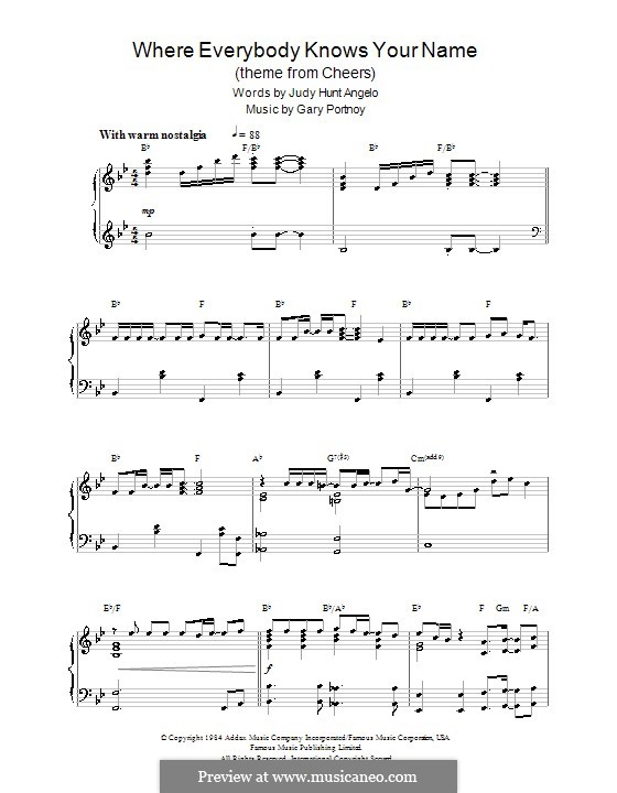 Where Everybody Knows Your Name (theme from Cheers): For piano by Gary Portnoy, Judy Hart Angelo