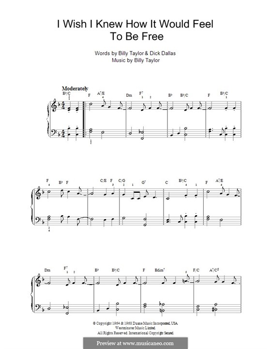 I Wish I Knew How it Would Feel to Be Free: For easy piano by Billy Taylor