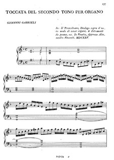Toccata del Secondo Tono per Organo: Toccata del Secondo Tono per Organo by Giovanni Gabrieli