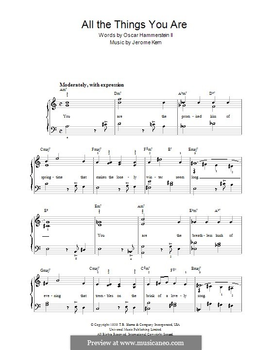 All the Things You are, for Piano: Very easy version by Jerome Kern