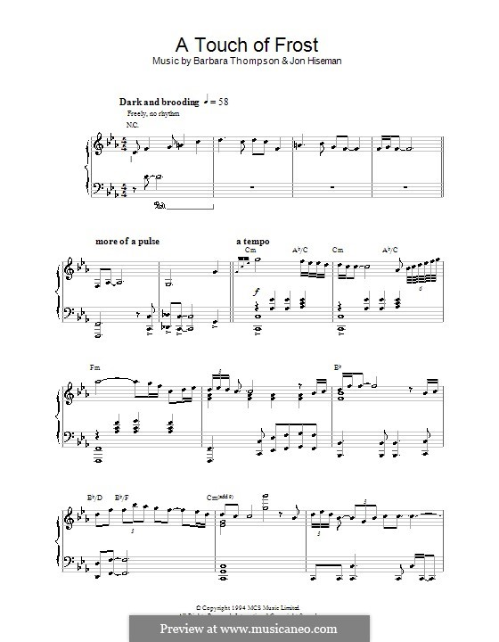 A Touch of Frost (Barbara Thompson): For piano by Jon Hiseman