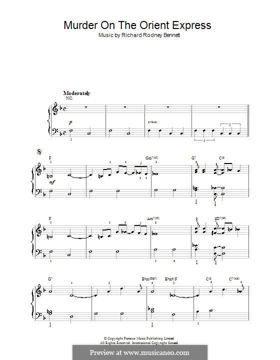 Murder On The Orient Express: For easy piano by Richard Rodney Bennett