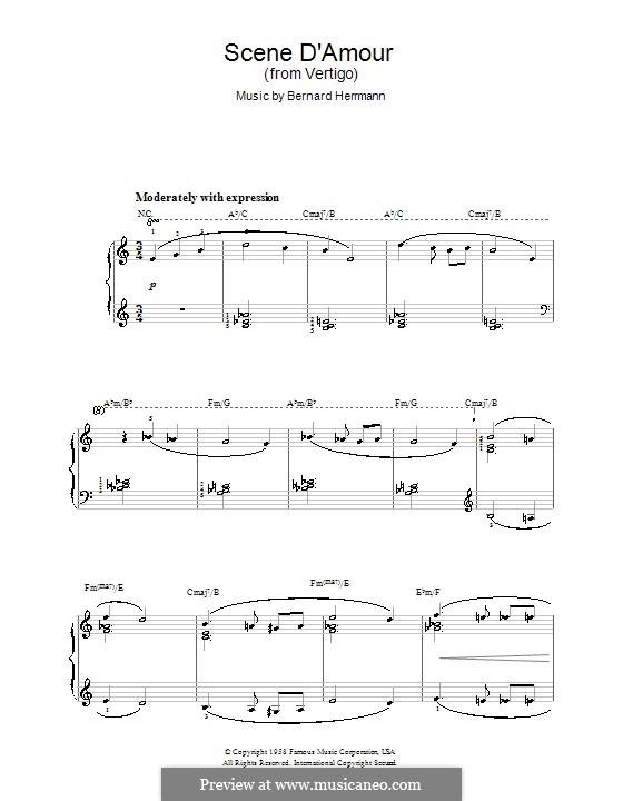 Scene d'Amour (from Vertigo): For easy piano by Bernard Herrmann