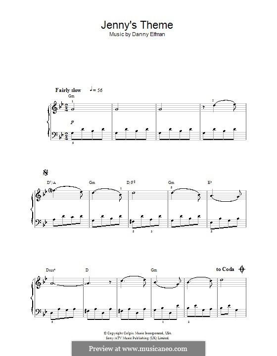 Big Fish: Jenny's Theme, for easy piano by Danny Elfman