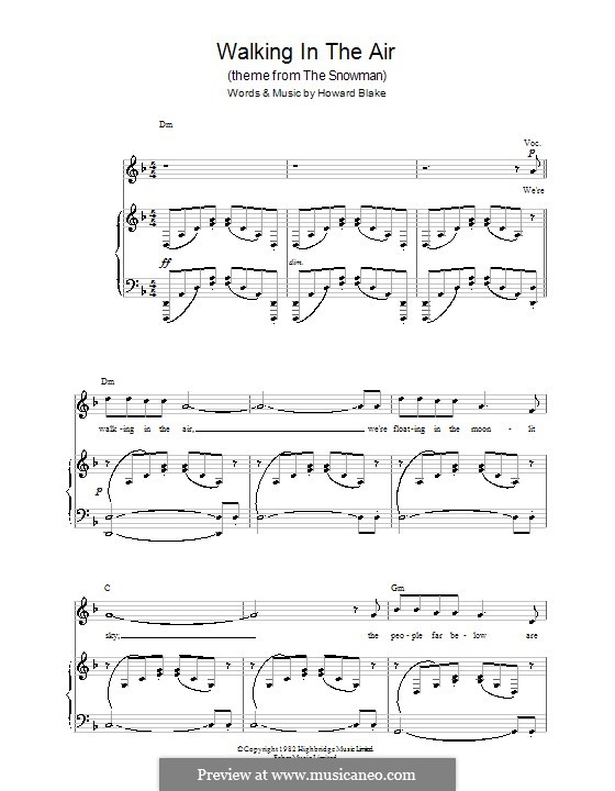 Walking in the Air: For voice and piano (or guitar) by Howard Blake