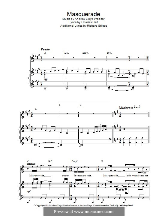 Masquerade (The Phantom of the Opera) by A.L. Webber on MusicaNeo