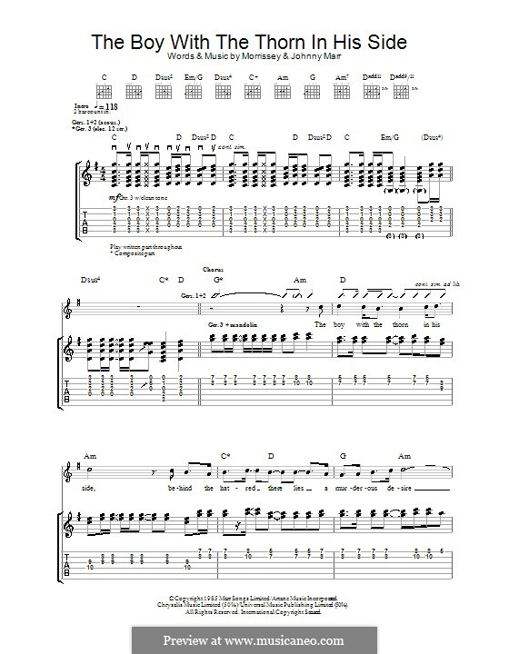 The Boy with the Thorn in His Side: For guitar with tab by Morrissey, Johnny Marr