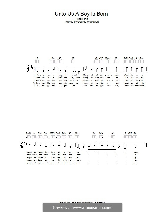 Unto Us a Boy Is Born: Melody line, lyrics and chords by folklore