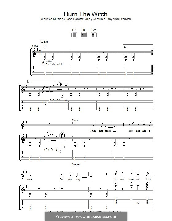 Burn the Witch (Queens of the Stone Age): For guitar with tab by Joey Castillo, Joshua Homme, Troy Van Leeuwen