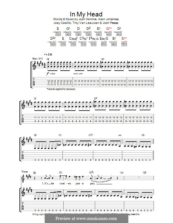 In My Head (Queens of the Stone Age): For guitar with tab by Alain Johannes, Joey Castillo, Joshua Freese, Joshua Homme, Troy Van Leeuwen